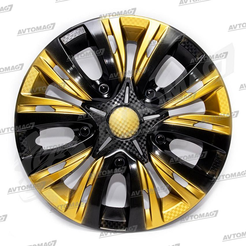 Колпаки на Колеса R13 Лион микс Черно-золотые карбон