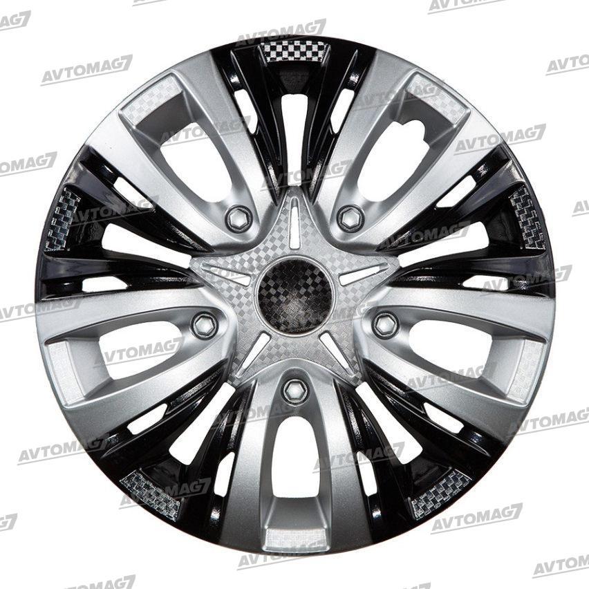 Колпаки на Колеса R14 Лион Микс Серебристо-черные карбон